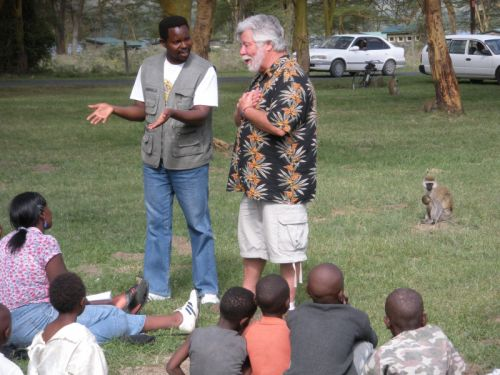 Noah Taylor preaching in Lake Nakuru National Park in Kenya