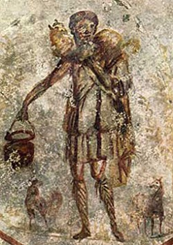 3rd century catacombs painting of Jesus as the Good Shepherd, public domain