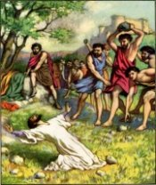 The stoning of Stephen in Jerusalem