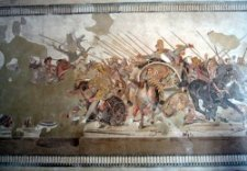 Mosaic of Roman battle at Pompeii