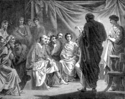 An artist depiction of Paul's letter being read in an early Church congregation