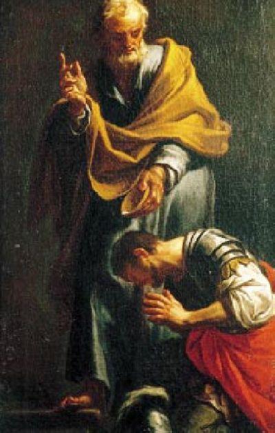 1709 depiction of Peter baptizing Cornelius by Francesco Trevisani