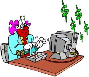 clown running web site business