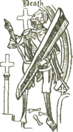 Death was the frontispiece of the first edition of <cite>Everyman</cite> around 1500