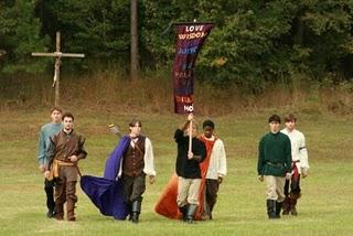 Highlander men with banner