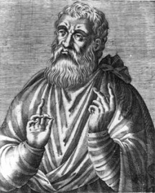 An artist's depiction of Justin Martyr