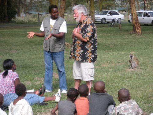 Noah Taylor preaching in Lake Nakuru National Park in Kenya