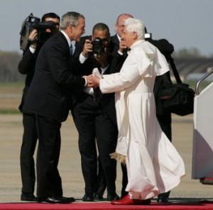 George Bush greets Pope Benedict XVI