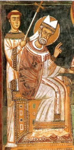 Pope Sylvester with Constantine the Great