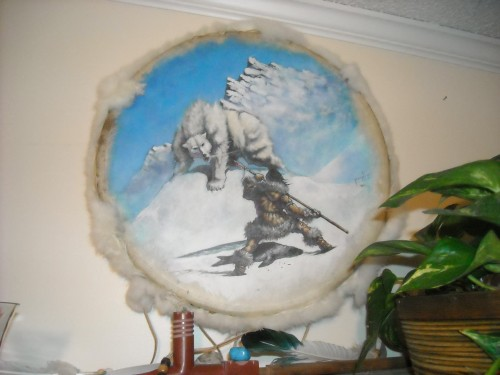 A painted bodhran by Jeremiah Briggs