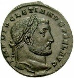 Coin with inscription of the emperor Diocletian; photograph used with permission