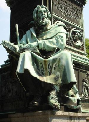 Peter Waldo statue at the Luther Memorial in Worms, Germany