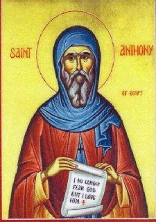 Icon of St. Anthony, the first desert monk