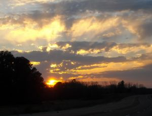 Sunset over highway 64 in Selmer